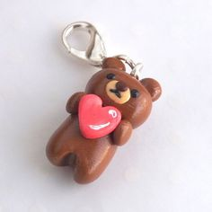 Bear with Heart Charm - Miniature Brown Bear - Kawaii Clay Charm - Valentines Gift Idea - Valentines Bear - Planner Charm - Progress Keeper