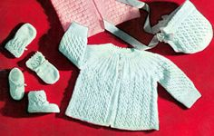 Vintage Knitting PATTERN to make - Knitted Eyelet Lace Baby Sweater Cap Booties MittensKnitting Set. NOT a finished item. This is a pattern and/or instructions to make the item only. - I Crochet World Knitting For Charity, Knitting For Kids, Free Knitting, Free Crochet, Knitting Projects, Crochet Ideas, Knitted Baby Clothes, Baby Doll Clothes, Baby Knits
