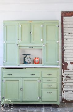 Vintage Hoosier Cabinet painted with Luckett's Green Milk Paint