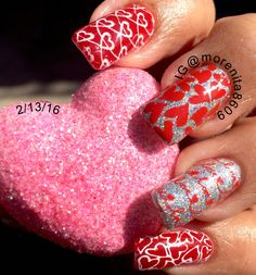 Valentine's Nails     #nailart #valentine's #nailstamping