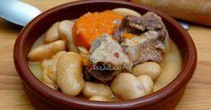 Receta casera de alubias del Barco de Ávila con costillas de cerdo, zanahoria, cebolla, ajo, laurel y aceite.
