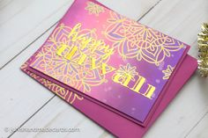 Diwali cards #diwalicards #diwali #mandala #rangoli  #diwali2017 #indian #festival #waffleflowercrafts #altenew #distressoxides Diwali Cards, Distress Oxides, Altenew, Flower Crafts, Hello Everyone, Handmade Cards, Mandala, Christmas Tree, Stamp