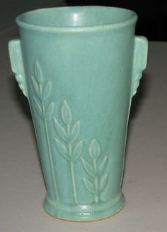 Brush Mccoy MINT Early Stoneware Pottery Matte Green Wheat Design Vintage Vase  Love this color