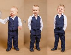 3 pcs.wedding boy suit Ring bearer outfit Boy suit Toddler suit Junior groomsmen Wedding outfit Baby boy suit Handmade in Europe Navy suit