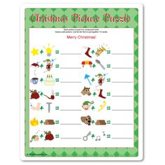 Kids Christmas party game for ages 10+. Each picture is a clue to half of the word. Christmas game from Funsational.com.