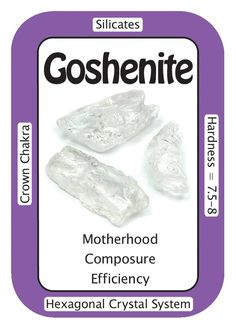 "Crystal Card of the Day: Goshenite, ""I AM Peaceful."" Goshenite brings those who suffer from severe mood swings a sense of peace and calm. It is also helpful for those who have post-natal depression, severe PMS and other hormonal-related conditions. Goshenite provides a state of composure and the wherewithal to move forward during times of upheaval. It is a stone of honesty and helps those around you to speak the truth and lesson the spread of gossip. Goshenite is a wonderful crystal to keep…"
