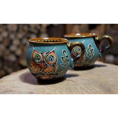 Ceramic mug Owls Set of 2 mugs Stoneware mug Coffee mug Tea set Blue... (820 UAH) ❤ liked on Polyvore featuring home, kitchen & dining, drinkware, handmade ceramic mugs, handmade pottery mugs, ceramic cups, blue tea cups and owl mug