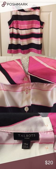 Talbots sleeveless Blouse Beautiful pink and black striped sleeveless blouse. 100% poly but feels like silk. Talbots Tops Blouses - black and white blouses & tops, party blouses, womens blouse tops *sponsored https://www.pinterest.com/blouses_blouse/ https://www.pinterest.com/explore/blouses/ https://www.pinterest.com/blouses_blouse/white-blouse/ http://www.lanebryant.com/apparel/plus-size-tops/blouses/21288c17318c90/index.cat