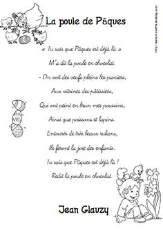 LA POULE DE PAQUES French Poems, Curriculum, Homeschool, Shared Reading, French Immersion, Teaching French, Kindergarten Activities, Easter, Classroom
