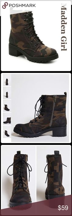 "NOW IN  THE 'CAMO' CANVAS BOOT A combat boot by Madden Girl* featuring an allover heavy canvas camo print, a round toe, lace-up front, side zip closure, back pull-tab, stacked heel, and lug sole. - Lightly padded insole, textured outsole - Upper: textile - Lining & Sole: manmade materials Size + Fit - Heel height: 2.25"" - Shaft height: 6"" - Leg opening 9"" - Platform: 0.75"" - NWOB    Closet Guidelines ^ Bundle Discount ^ No Trades ^ Make Offers Thur Offer Button Steve Madden Shoes Combat…"
