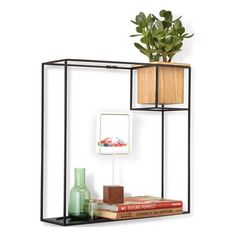Umbra Cubist Shelf - Large - Display your favourite trinkets in a unique and eye-catching way with the Umbra Cubist Shelf Large! This minimalist wall display can hold anything from books to photo frames, and also includes a floating wooden tumbler with a plastic lining: perfect for a small house plant! The inspiration behind this modern organiser is Mondrian