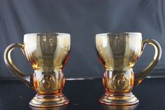 """New Martinsville Moondrops 2 Tumblers With Handle 5"""" Tall Amber 1932-1940 *FOR SALE* #NewMartinsville"""