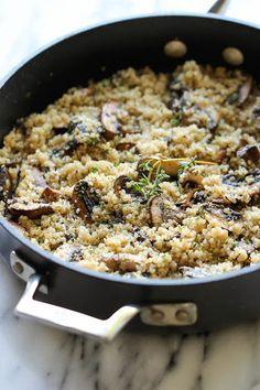 Garlic Mushroom Quinoa With Quinoa, Olive Oil, Cremini Mushrooms, Garlic, Dried Thyme, Kosher Salt, Ground Black Pepper, Grated Parmesan Cheese
