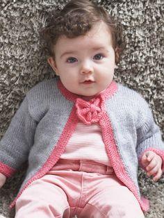 Pretty Bow Tie Baby Cardigan | Yarn | Free Knitting Patterns | Crochet Patterns | Yarnspirations