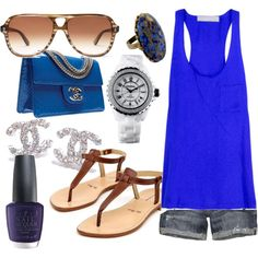 ♥ everything, but those sandals are to plain for this. And a different purse.