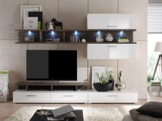 LAGO Wohnwand inkl. LED weiss / Avola new grey