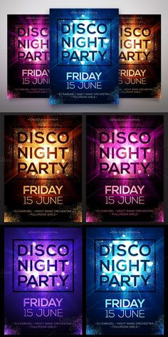 Star dust Disco Night posters set. Flyer Templates. $12.00