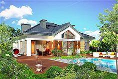 Projekt Domidea 2 d ps 119,87 m2 - koszt budowy - EXTRADOM Bungalow, Mansions, House Styles, Outdoor Decor, Ps, Home Decor, Mansion Houses, Homemade Home Decor, Manor Houses