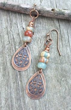 Copper drop earrings, African Opal earrings, copper jewelry