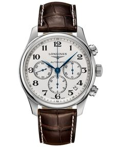 Longines Men's Swiss Automatic Chronograph The Longines Master Collection Dark Brown Leather Strap Watch 44mm L26934783