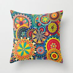 Abstract Flower Carousel Throw Pillow Cover. 16x16 by cyamonday