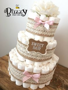 Vintage Chic Diaper Cake with Ivory Crochet by BuzzyDiaperCakes