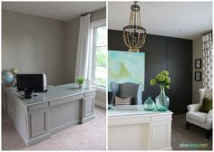 Office Makeover Before and After - so many gorgeous DIY projects!