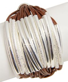 Look at this Brown & Silvertone String Bracelet on #zulily today!