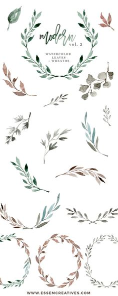 Watercolour Wreath Clipart, Watercolor Leaves Clipart, Floral Clipart, Wedding Clipart, Eucalyptus Branch, Ginkgo Leaf, Watercolor Leaf Logo, Greenery clipart, Romantic, elegant, fall, autumn, winter wedding invitations, DIY stationery, These leaves, branches & wreaths are perfect for designing modern minimalist wedding invitations (actually any kind of invitations!), welcome signs, logos, art prints, logos & branding, websites, packaging, etc.>> #weddinginvitationsmodernelegant