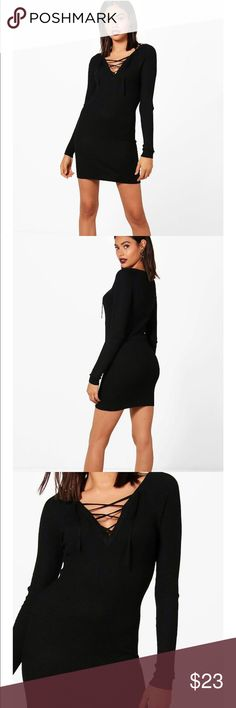 Kayla lace up Rib Knit Jumper Dress Ribbed knit of 80% viscose, 20% polyamide . This is a Bodycon Style . Tight fitting . Lace up neckline.this is a sweat ribbed knit . Length is 33 inches. Underarm to underarm is 13 inches . boohoo / brave souls Dresses Long Sleeve
