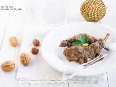 Conejo en salsa de nueces. Receta de Navidad http://www.directoalpaladar.com/recetas-de-carnes-y-aves/conejo-en-salsa-de-nueces-receta-de-navidad