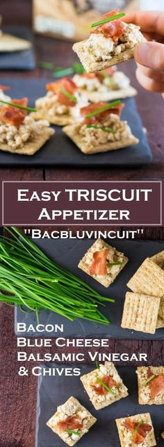 Easy TRISCUIT Appetizer topped with bacon, blue cheese infused with balsamic vinegar, and chives. Also known as Bacbluvincuit Recipe! Light Appetizers, Appetizer Recipes, Fall Appetizers, Party Recipes, Great Recipes, Healthy Recipes, Amazing Recipes, Delicious Recipes, Good Food