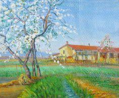 E. Besozzi pitt. 1952 Cascina in primavera localita (Livello) olio sdu cartone cm. 23,5x28 arc. 1084