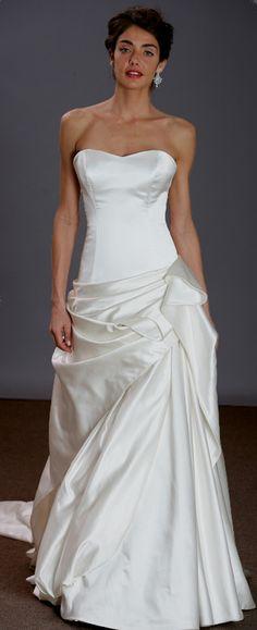Satin simple A-line wedding dress