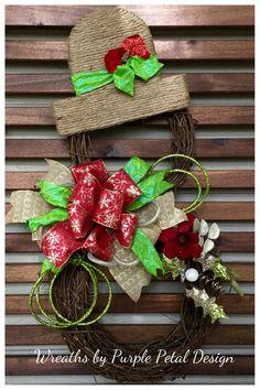 Christmas Wreath  Snowman Wreath  Grapevine by PurplePetalDesign