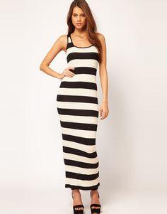 NWT ASOS Black Cream Striped Maxi Dress Tube Wiggle UK 10 US 6 $70 Sold Out | eBay