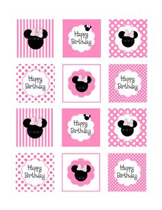 Minnie mouse cupcake toppers 2 inches by ceremoniaGlam on Etsy, $2.50