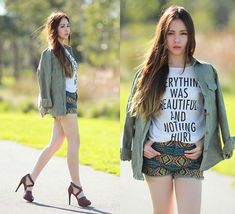 Chloe T - Sheinside Khaki Shirt, Stylemoca Shorts, Tshirt - Everthing was beautiful and nothing hurt