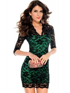 Ladies V-neck Mini Slim Lace Dress Clubwear Half Sleeves Green