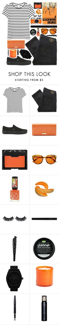 """A Clockwork Orange"" by ladyvalkyrie ❤ liked on Polyvore featuring Monki, Vivienne Westwood Anglomania, Vans, Buxton, Hermès, NARS Cosmetics, Rimmel, Battington, shu uemura and Anna Sui"