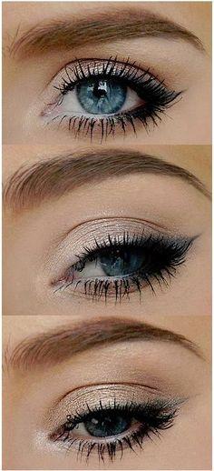Schlichtes Augen Make-up für den täglichen Gang zur Arbeit.