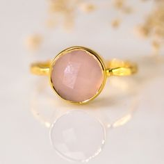 October Birthstone Jewelry - Pink Chalcedony Ring - Bezel Set Ring - Pink Quartz ring - Gemstone Ring - Gold Ring -. $66.00, via Etsy.
