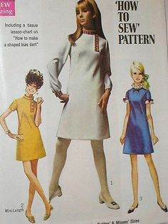 Vintage 1960s Simplicity 7737 MOD A Line Mini Dress Pattern 32B sz 7 jp