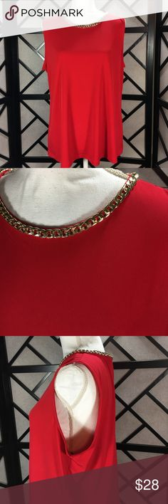 """Karl Lagerfeld Red Sleeveless Top with Gold Chain Stunning top! The gold accent chain is such a WOW!!! Bust approximately 42"""" length approximately 25"""" from shoulders. Karl Lagerfeld Tops"""