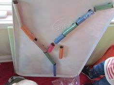 DIY Marble Run - made from cardboard tubes, coated in tape, and hot glued magnets on the back! Kindergarten Science, Preschool Classroom, Toddler Preschool, Preschool Crafts, Kids Crafts, Fun Activities For Kids, Preschool Activities, Toddler Roller Coaster, Marble Games
