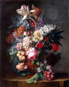 Jan van Huysum - Bunch of flowers in a vase