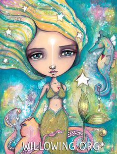 The Little Empowered Mermaid - Art Print by willowing on Etsy