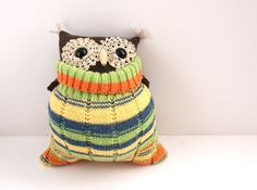 Little Sock Owl Halloween Plushie by theRemakerie on Etsy, $35.00