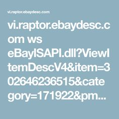 vi.raptor.ebaydesc.com ws eBayISAPI.dll?ViewItemDescV4&item=302646236515&category=171922&pm=1&ds=0&t=1511772848000&ver=0&cspheader=1