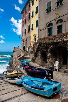 Riomaggiore,  (province of La Spezia, situated in a small valley in the Liguria region of Italy) by potomo via Flickr.